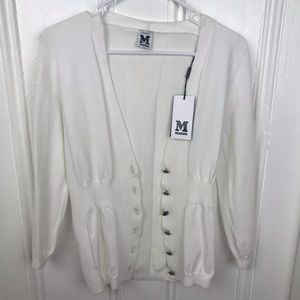NWT Missoni cream stretchy cotton cardigan buttons